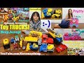 Toy Shopping at the Store! Playing Construction Trucks, Vtech Raceway Set and Tea Cart Playset