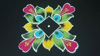 5x5 dots simple kolam designs esay color rangoli designs for small compilations Diwalli Muggulu