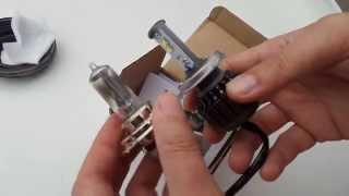 Análisis lámpara H4 en LED 33W 4XCree XM-L2 SUNNYLIGHT (sustituyen a las halógenas 55/65W) Video