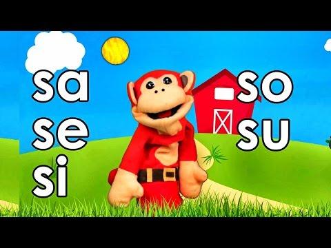 Sílabas sa se si so su - El Mono Sílabo - Videos Infantiles - Educación para Niños #