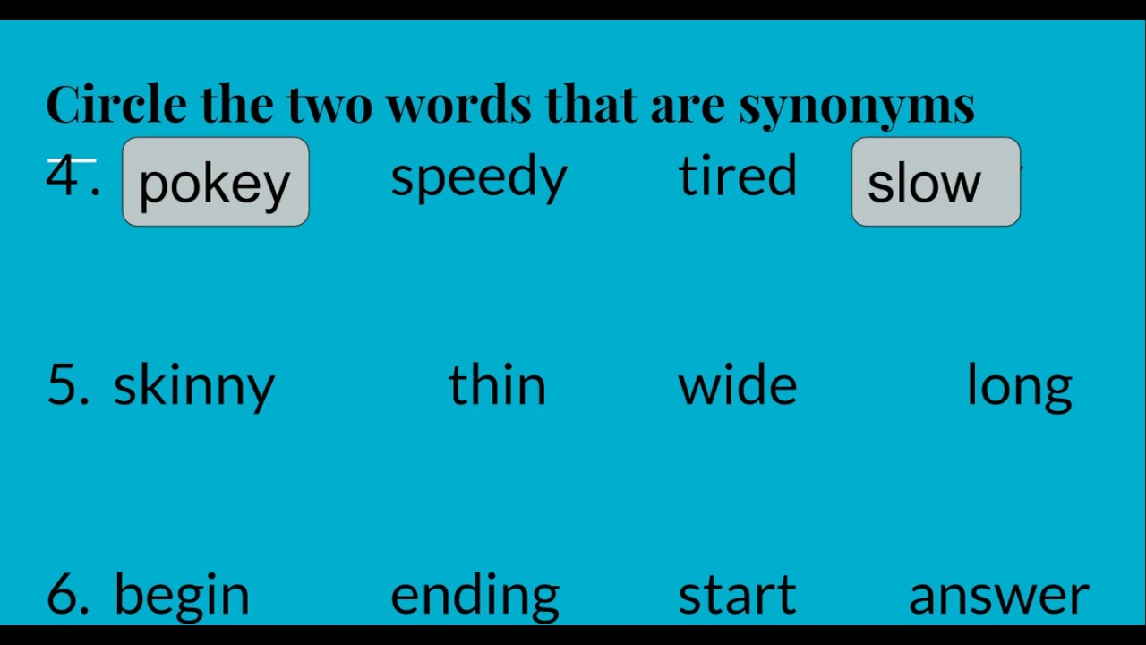 Standard 3.4.R.4: 3rd Grade ELA Synonyms and Antonyms - YouTube