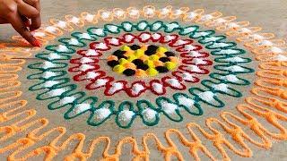 Awesome Rangoli Designs for Diwali   मिंटो में बनाये Rangoli Easy and Colourful Design