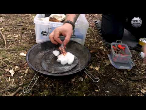 Lee Valley Park bushcraft: fire from a battery