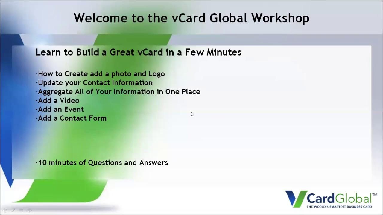 vCard Global Workshop - Building a vCard for a Non-Profit Director ...