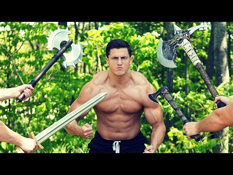 Hit with VIKING Weapons until I BLEED | Bodybuilder VS Crazy Foam Weapon Damage Test Challenge