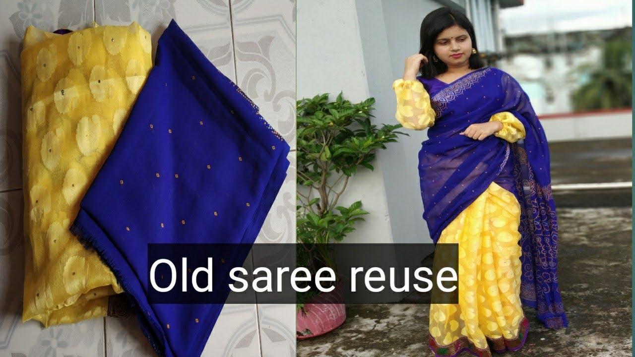 पुरानी Saree reuse करें और बनाएं Stylish Saree & Blouse
