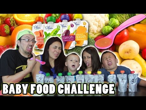 BABY FOOD CHALLENGE!!  Fruits & Vegetables ... Meat Barf!  | FUNnel Vision