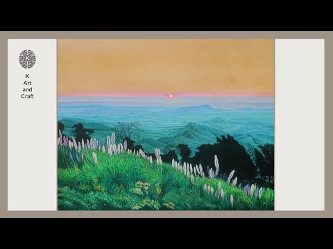 Acrylic landscape on canvas early evening hill scenery easy acrylic painting