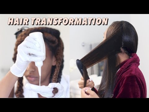 How I COLOR, blow dry and STRAIGHTEN my Thick Natural HAIR (HAIR TRANSFORMATION)