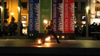 Fire Poi Solo: Pierre Baudin, Act 16, 2012 Fire Dancing Expo, San Francisco(Act 16 of the 2012 Fire Dancing Expo held in Union Square as part of Bay Area National Dance Week. This event is produced by Temple of Poi ..., 2012-10-31T14:37:27.000Z)