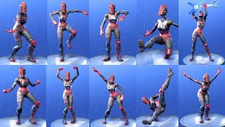 Fortnite RED KNIGHT Performs All Dances - All SEASON 1-4 Dance Emotes