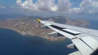 HEAVY Landing in Santorini A320 - Amazing View