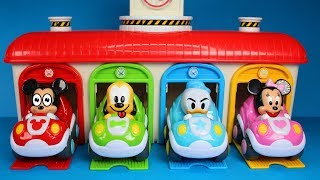 Baby Mickey Mouse Cars Tayo Garage Surprise Toys Learn Colors with Mickey Minnie Pluto Donald