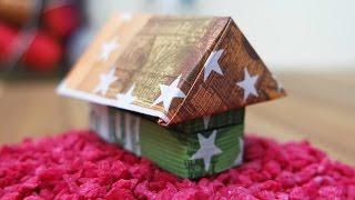Geldscheine falten Haus 🏠 Origami Geldgeschenk zum Richtfest Anleitung