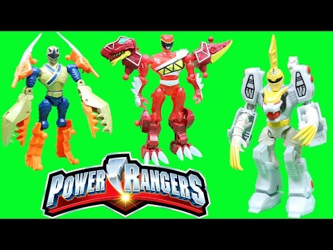 POWER RANGER MIXX N MORPH WHITE RANGER and TIGERZORD Adventure with Red & Gold Power Rangers!