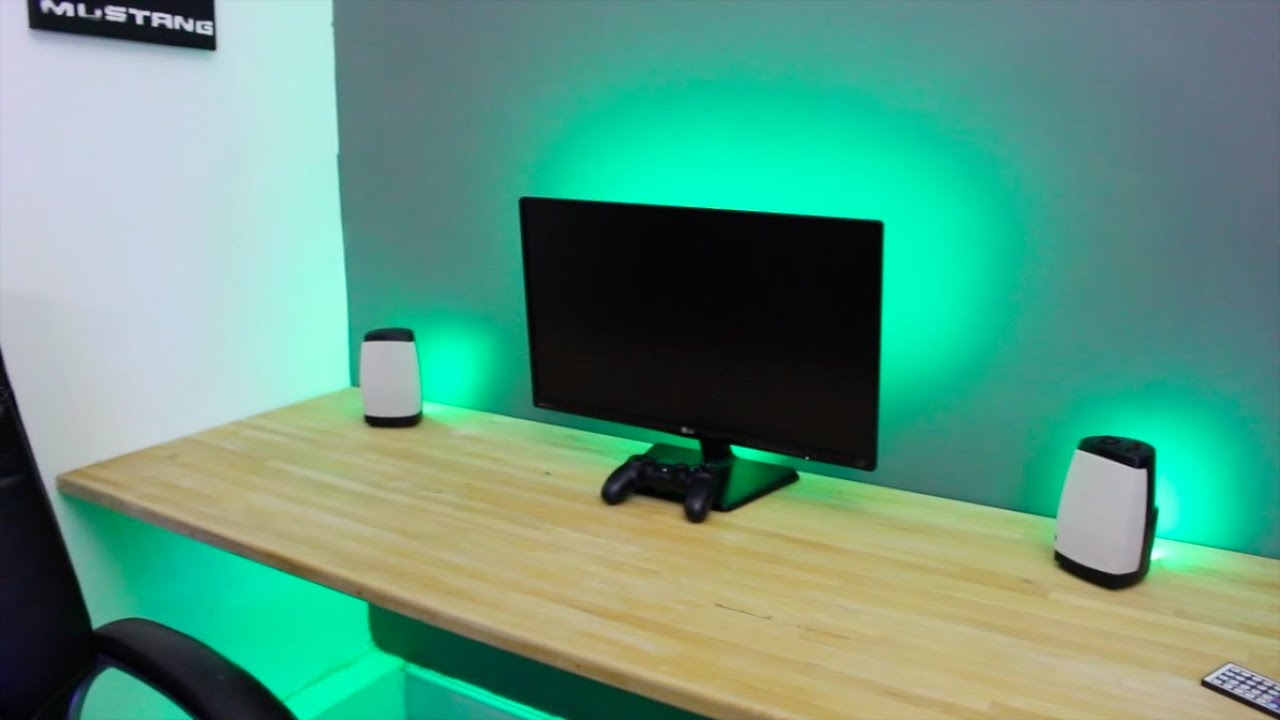 Make any desk set up awesome led strip lights youtube aloadofball Images