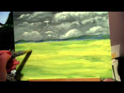How to paint realistic easy grass with acrylic paint for beginners step by step lesson 4