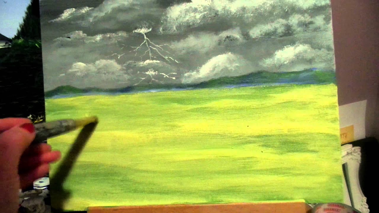 How to paint realistic easy grass with acrylic paint for beginners step by step lesson 4  YouTube