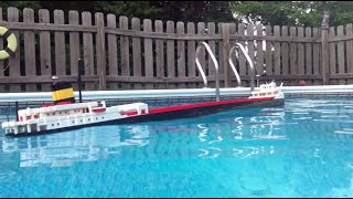 8' LEGO Edmund Fitzgerald Model Sinking【1/3】