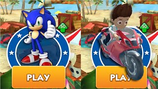 Sonic Dash vs Paw Ryder Moto Race Patrol 3D Android Gameplay