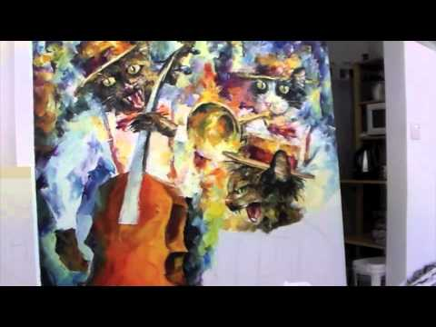 Leonid Afremov paints new painting Jamming Cats 2