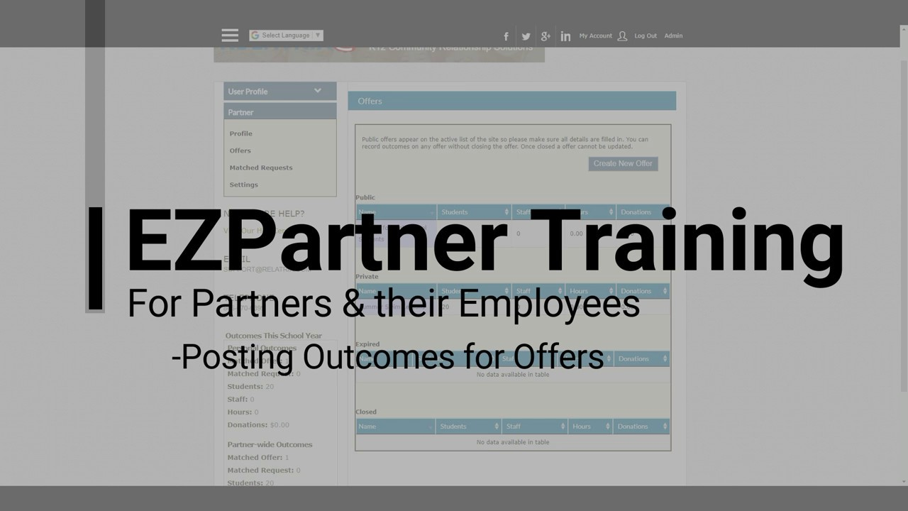 EZPartner - How To Record Outcomes For Partners