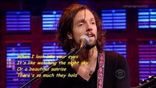 Jason Mraz - I Won't Give Up [ live on David Letterman 2012 ] ( lyrics)