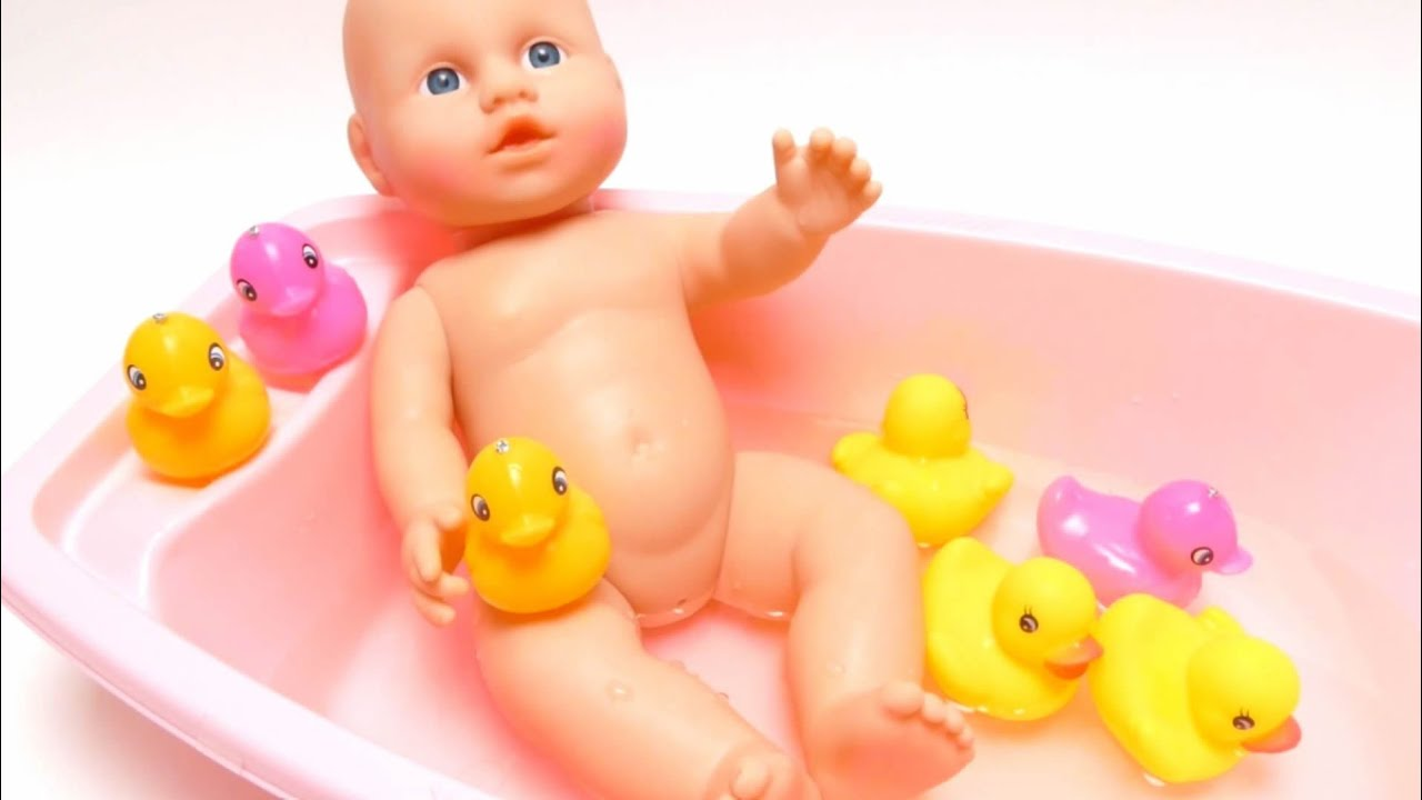 Baby Doll Water Bath Time & Fishing Game with Yellow Rubber Ducks