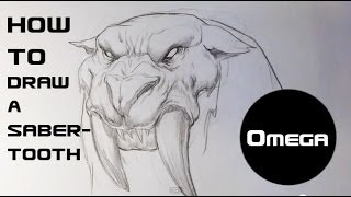How to Draw a Sabertooth Tiger - Draw Fantasy Art