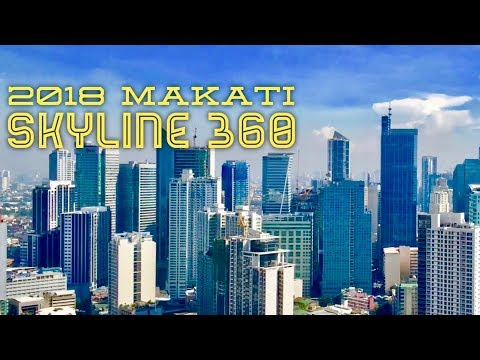 2018 Makati Metro Manila Skyline Clear Sunny Day 360 Degrees Panoramic View Manila Bay