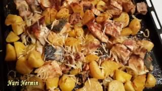 Осетрина  с картошкой запеченная в духовке