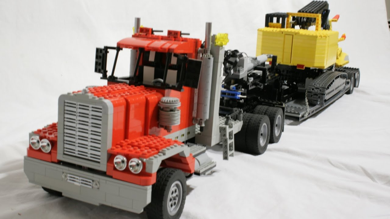 Lego Rc Semi Truck And Gooseneck Trailer Youtube