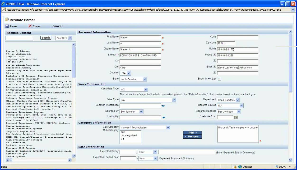 Zoniac Resume Parser Create candidate database QUICKLY - YouTube