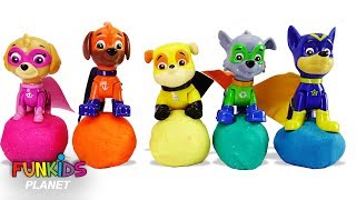 Learn Color Videos for Kids: Paw Patrol Skye & Chase play with Play-doh with Molds & Playsets