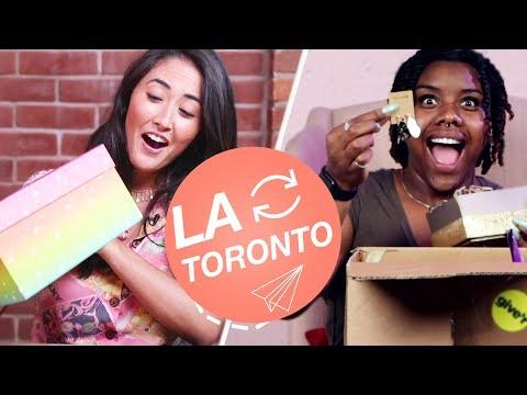 Strangers Swap Mystery Beauty Boxes • LA & Toronto - YouTube