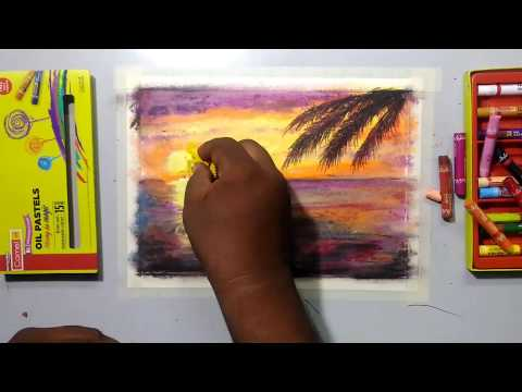 Nature/Scenary/Landscape sunset drawing for beginners-5|m|Mr.Thinker|oil pastel