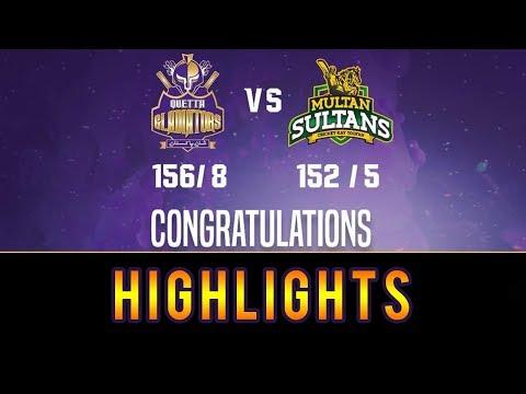 Quetta Gladiators Beat Multan Sultans by 2 Wickets  Multan Sultans Vs Quetta Gladiators HBL PSL 2018