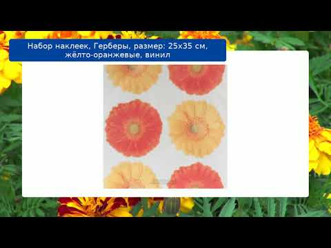 Набор наклеек, Герберы, размер: 25х35 см, жёлто-оранжевые, винил