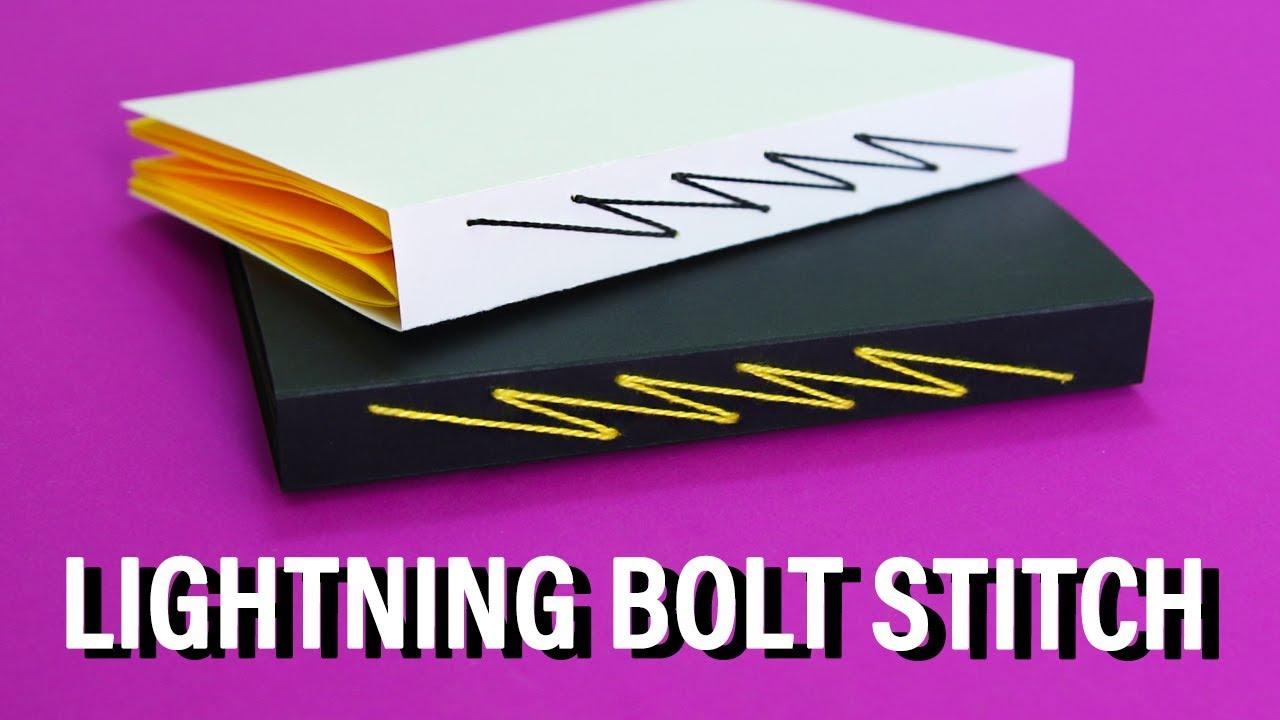 diy lightning bolt stitch bookbinding sea lemon youtube