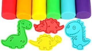 Dinosaur Play Doh Molds Learn Dinosaurs Names & Colors T-Rex Stegosaurus Triceratops Apathosaurus