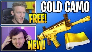 "Streamers React To NEW *FREE* ""GOLDEN CAMO"" (Ranked Reward) in Fortnite"