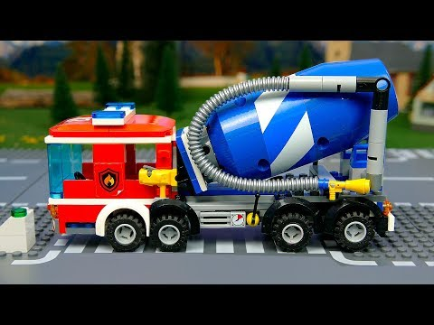Lego Wrong fire truck and experemental cars . Toy Vehicles for Kids