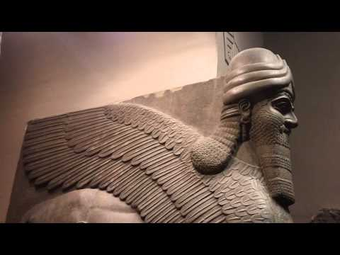 Assyrian 865-860 BC winged human-headed lion Nimrud Palace British Museum