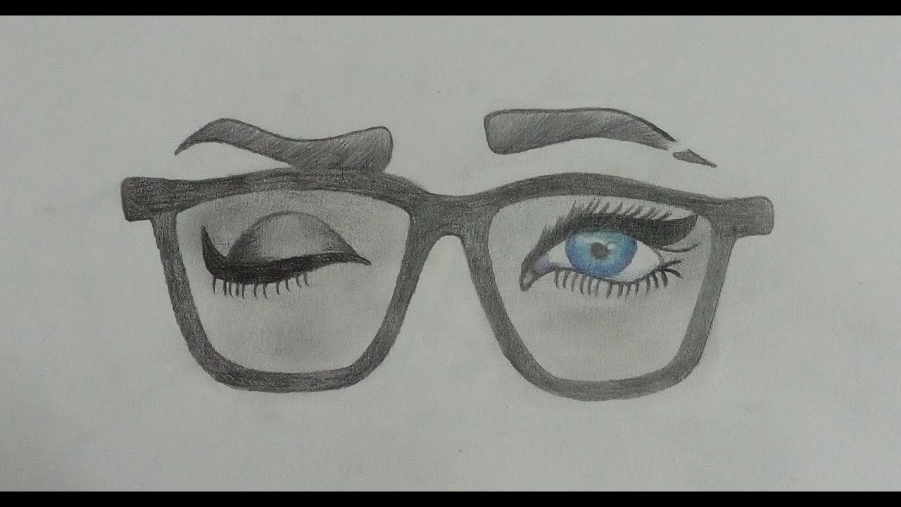 Learn drawing Glasses and eyes of a girl YouTube