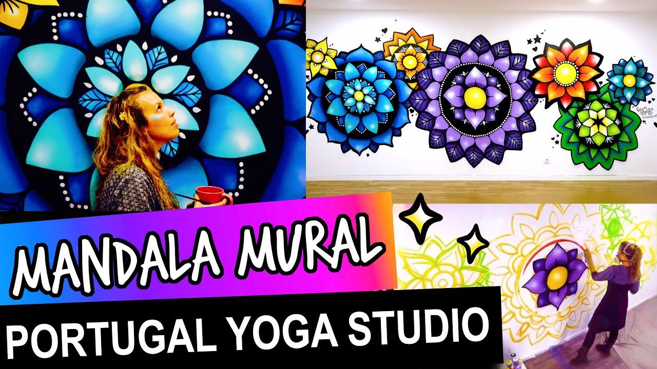 How To Paint A Mandala Ellen Stapleton Hand Painted Mandala Wall Art Mural Vegan Cafe Yoga