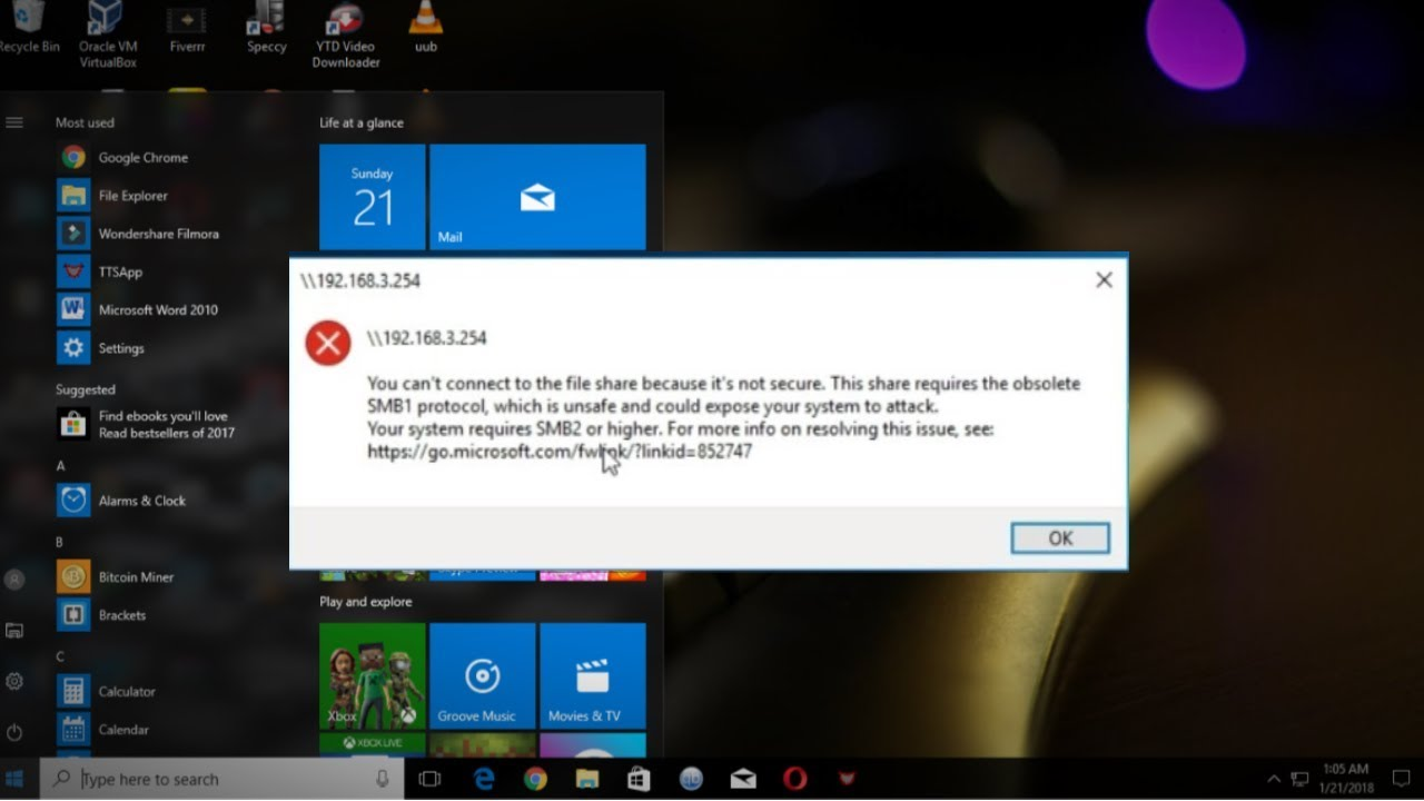 Fix: Your system requires SMB2 or higher error on Windows 10