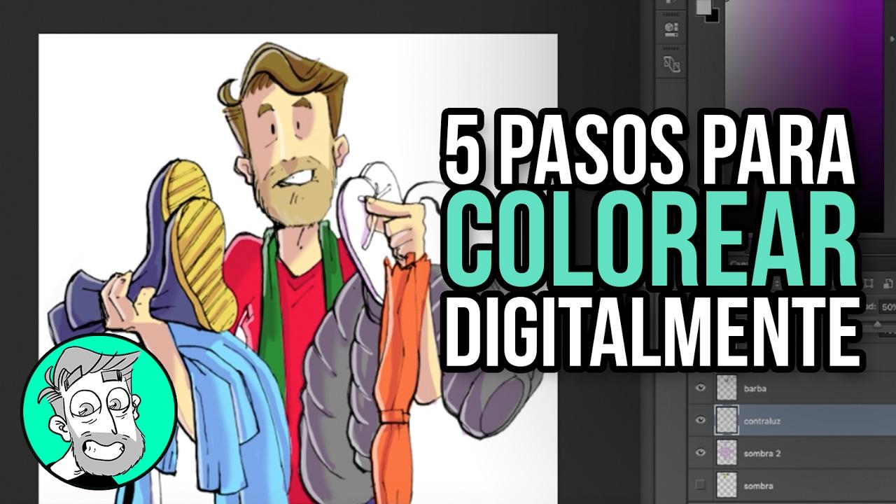 5 pasos para colorear digitalmente un dibujo - YouTube