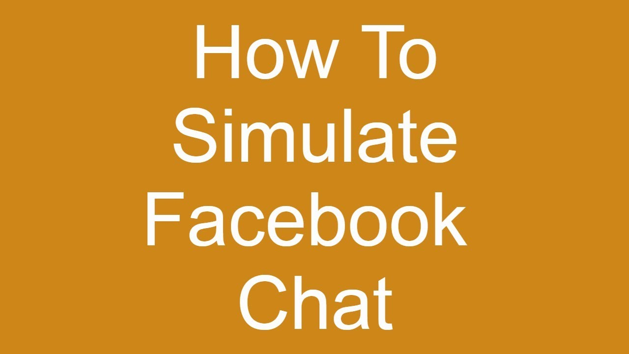 How To Create Fake Facebook Messages/Chat