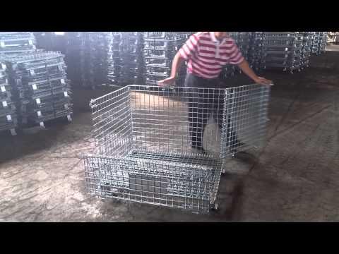 台灣 勝凱工業股份有限公司 折疊式倉庫籠使用範例操作(展開示範)