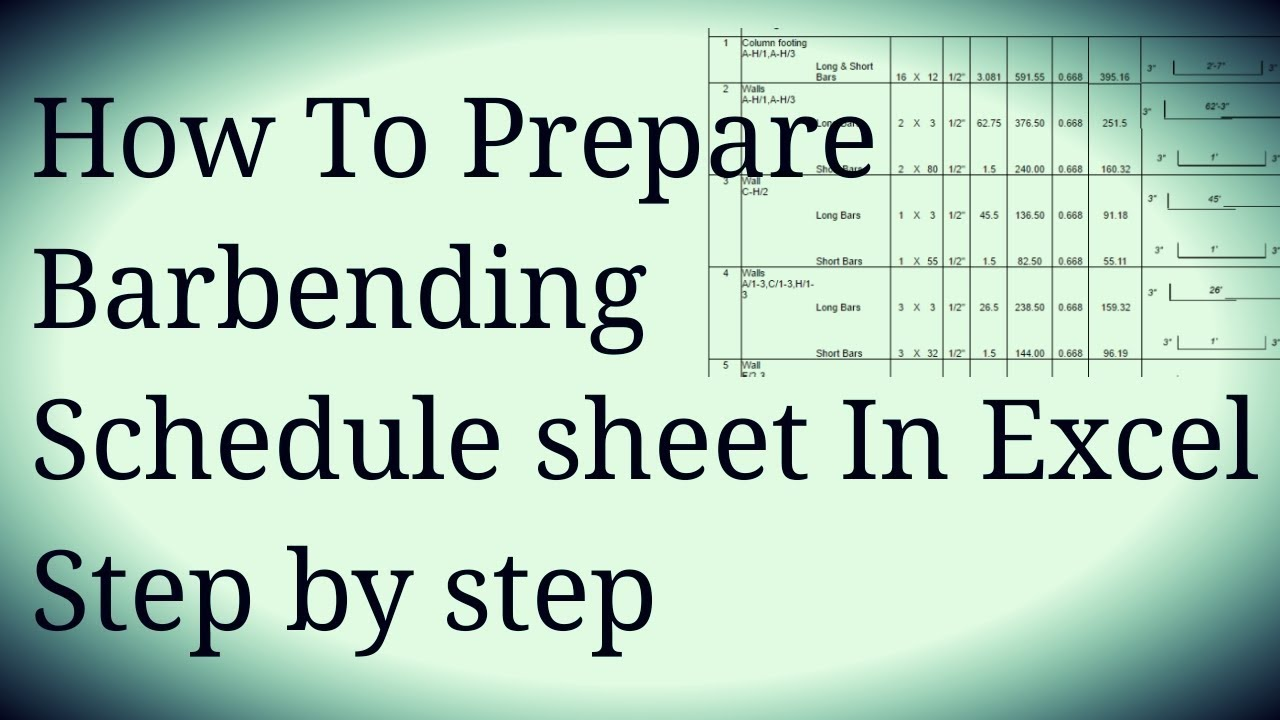 How to Make Bar Bending Schedule Sheet In Excel URDU/HINDI